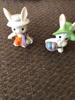 "Set Of ""2"" Miniature Enesco Bunnies With Eggs"
