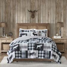 Log Cabin Lodge Cozy Grey Black Rustic Red Plaid Bear Moose Quilt Set & Pillow