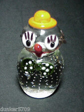 CLEAR GLASS CLOWN FIGURINE PAPERWEIGHT WITH COLORED ACCENTS 4 INCHES HIGH