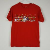 Charlie Brown Peanuts Gang T-Shirt SS Building Snowman Red Unisex Size Small
