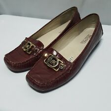 1dccaf199096 Michael Kors Charm burgundy loafer crocodile pattern leather flats shoes sz  6.5