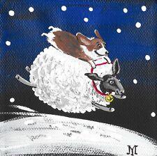 4X4 Print Of Painting Ryta Christmas Pembroke Welsh Corgi Sheep Whimsical Art