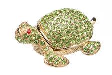 Decorative Enamel Faberge Trinket Jewel Box Turtle with crystals 6.5x4.5x2.5 cm