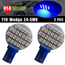 2X Ultra Blue T10 Wedge 24-SMD Car Interior Side Led Bulb High Quality US Seller
