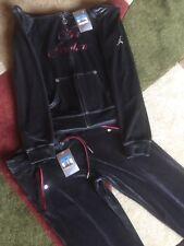 NWT Vintage Women Air Jordan Velour Grey / Burgundy Jogging Suit Medium