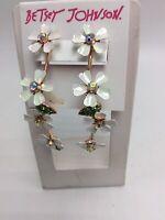 $48 Betsey Johnson FLUTTERBYE FLOWER Rose Gold Tone Crystal Drop Earrings Z42