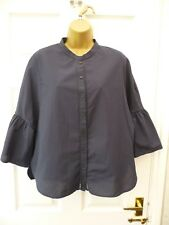 PRIMARK Ladies Size 16  Blue Lace Bell Sleeve Hippy Boho Work Blouse Shirt Top