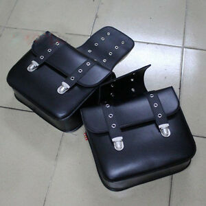 Studded Faux Leather Motorcycle Luggage Bags Motorbike Panniers SaddleBags Black