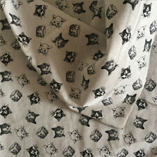 50x150cm Cotton Linen Fabric DIY Home Deco Craft Material Printed Black Cat 14bF