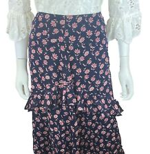 New w/Tag~$300 JOIE Skirt. Silk. Size 8. Navy blue, Pink. FLoral. Ruffled Layers