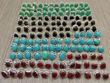 Wholesale Lot 150 Pcs Onyx,Turquoise & Garnet 925 Silver Plated Ring 1300 Grams