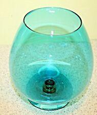"""Vintage Large 8"""" AQUA Blue Glass Brandy Sniffer Vase"""