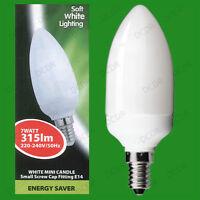 4x 7W Basse Energie CFL Mini Bougie 3500K Blanc Froid Ampoule, SES, E14 Lampes