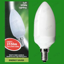 4x 7W Low Energy CFL Mini Candle 3500K Cool White Light Bulbs, SES, E14 Lamps