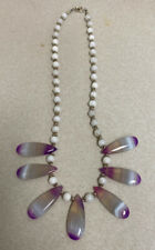 Pendants With White Beads Sea Glass Necklace Lavender Purple