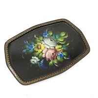 Vintage Handpainted Toleware Black Metal Floral Ornate Tray Signed