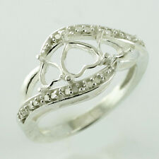 Semi Mount 6 MM Heart Shape Ring 925 Sterling Solid Silver Anniversary Jewelry