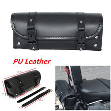 Motorcycle PU Leather Tool Bag Luggage Saddlebag Roll Barrel Storage