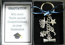 Graduation Keyring Keepsake For Passing Exams with Graduation Charm