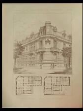 PARIS, ECOLE DE MUSIQUE ALFRED CORTOT - 1891 - 2 PLANCHES ARCHITECTURE - COCHET