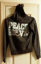 Victorias Secret Peace Love Pink Brown Full Zip Hoodie Jacket Womens Size XS