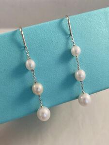 Tiffany & Co Silver Elsa Peretti Pearls By The Yard Chain Drop Earring RRP $995