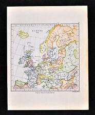 1892 Map of Europe in 912 Franks Saxony Cordoba Spain Italy Hungary Germany UK