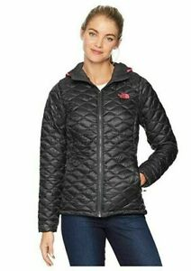THE NORTH FACE THERMOBALL HOODED JACKET size L $220 ASPHALT GRAY PINK