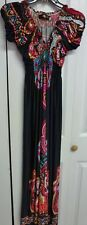 Jessica Taylor Women's Long Casual Dress Size L Large Black with Paisley Design