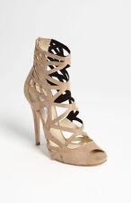 New sz 7.5 / 37.5 Jimmy Choo Viva Beige Suede Open Toe Cut Out Ankle Sandal Shoe