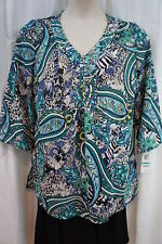 JM Collection Blouse Sz 0X Green Wild Paisley Isla Paradiso Embellished Tunic