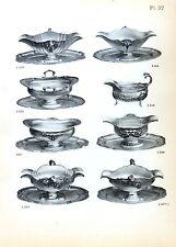 Stampa antica argenteria SALSIERE in ARGENTO Boulenger 1890 Old print silverware