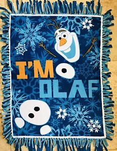 DISNEY FROZEN Fleece Throw Blanket I'M OLAF Fringe Aqua Handmade Lap Robe New