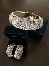 NLH Elegant Pave Crystal 18kt Gold Overlay Bangle & Earrings Retail $358 NWOT