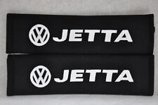 NEW Black Seat Belt Cover Shoulder Pad Pair Embroidery Volkswagen VW Jetta Logo