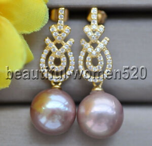 P9849 Natural 13mm Round Lavender Edison Pearl Dangle Earring CZ