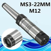 Dia 22mm M12 Morse Taper MT3 MS3 Shank Milling Arbor Gear Cutter Holder CNC Tool