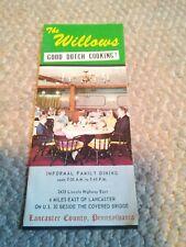 Vtg The Willows Brochure Lancaster Pennsylvania Amish Farm Dutch Cooking MenuHom