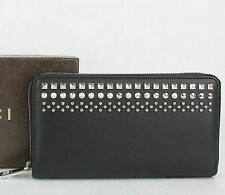 New Gucci Men's Black Leather Zip Around Wallet with Studded Detail 387456 1000