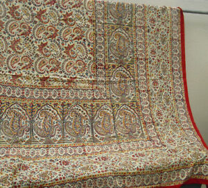 Indian cotton paisley throw in yellow red and blue bed cover counterpane boho hi