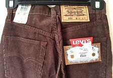 LEVI STRAUSS Original 550 Brown Cord Flare LEVI'S JEANS W24 L32 - Zip Fly NEW