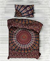 Indian Bed Sheet 100% Cotton Bedding Set Tapestry Hippie Boho Bedspread & Pillow