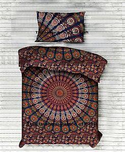 Indisch Bettlaken 100% Baumwolle Bettwäsche Set Wandteppich Hippie Boho & Kissen