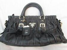 PRADA black leather Nappa Gaufre handbag Mint guaranteed authentic so soft