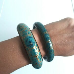 Green gold hand painted floral wooden PAIR medium thin vintage bangles ?Russian