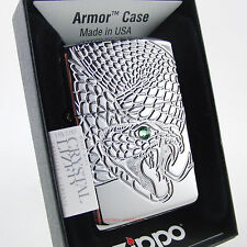 ZIPPO Feuerzeug SNAKE WITH GREEN EYE Armor Case Swarovski Element Schlange NEU
