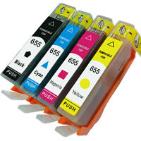 4Pcs Compatible Ink Cartridges for HP655 Deskjet 3525 4615 4625 5525 6520 Cool