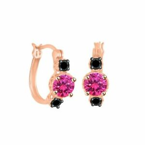 Sapphire & Spinel Hoop Earrings 10k Rose Gold