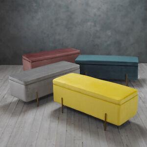 Velvet Fabric Grey, Mustard, Pink Or Teal Ottoman Storage Bench / Blanket Box
