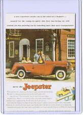 VINTAGE REPRO MEET THE JEEPSTER CAR ADVERTISING REPRODUCTION POSTCARD